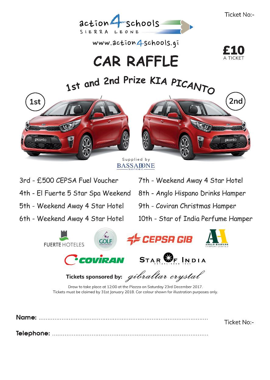We are raffling two Kia Picantos and a total of 10 fantastic prizes !
