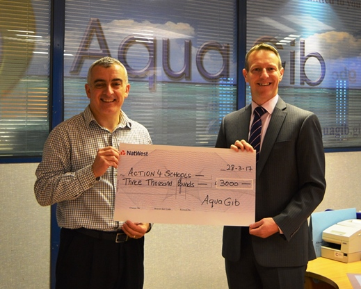March 2017 - AquaGib presented a £3000 donation to our charity to celebrate UN World Water Day 2017, this donation will fund a new water well in Sierra Leone