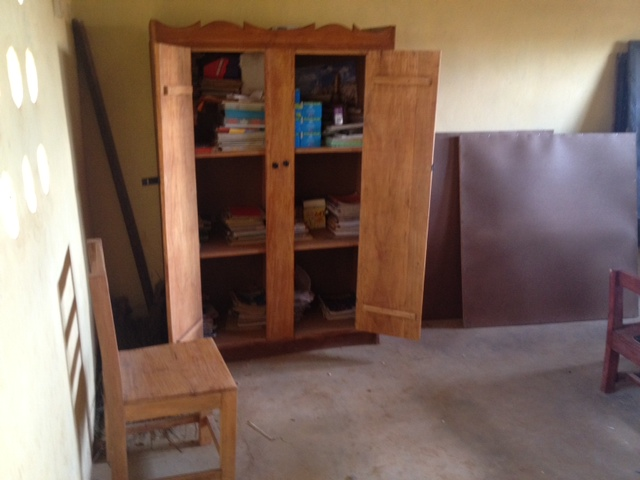 Cupboard donated by AKIN team to Amputee sch. Kabala