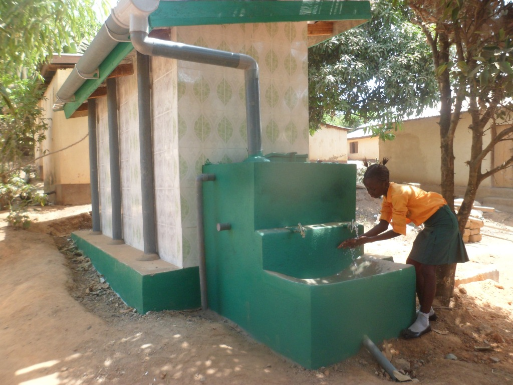 Demostrating hand washing after using the toilet