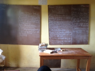 New blackboard for donated by AKIN team for Amputee sch. Kabala