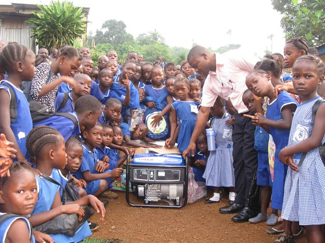 New generator donated by AKIN Geberltar to Church of Christ sch. Regent