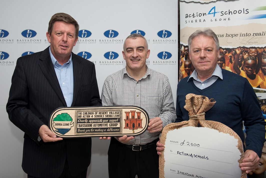 January 2017 - Bassadone Automotive Group donated £2,500 towards our water well projects and we presented a hand made wooden plaque that was crafted in Regent Village, Sierra Leone as a symbol of our gratitude for their on going support.