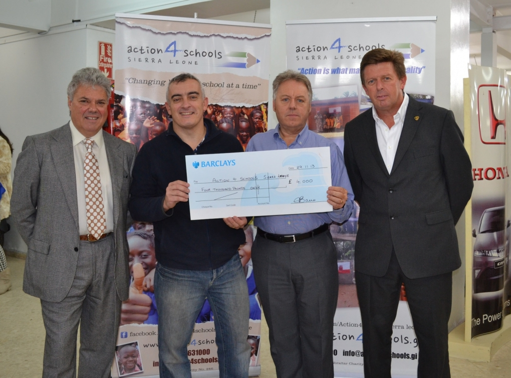 Bassadone Automotive Group has adopted our charity as a favourite charity. A £4,000 cheque was presented to Jimmy Bruzon (Chairman)  and John Gill (Treasurer) by George Bassadone (Group Chairman) and Kevin Jones (Group CEO) in November 2013