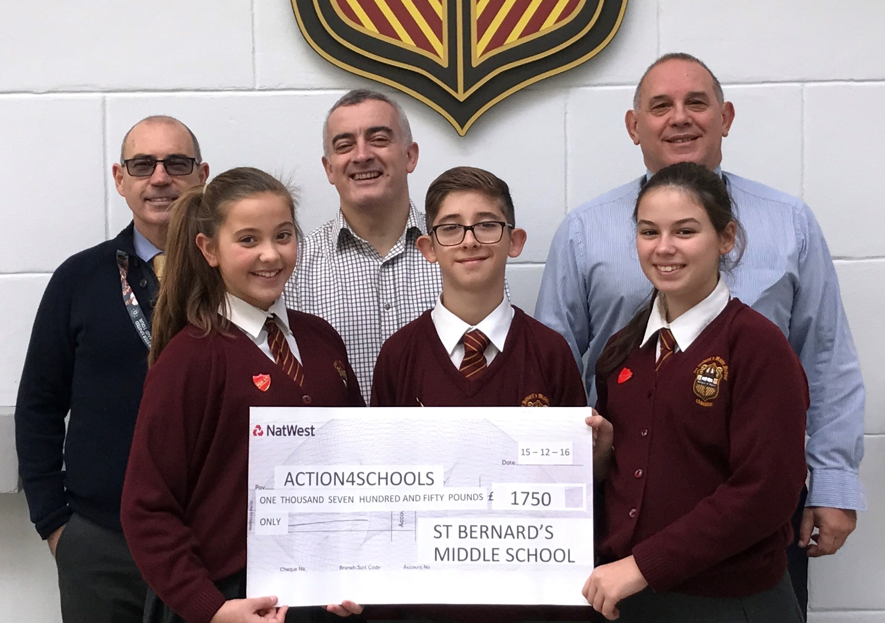 December 2016 - St Bernard's Middle School donated £1,750 towards the cost of a new water well