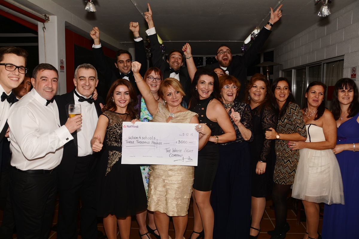 "The White Light Company cast & crew presented a cheque for £3,000. The money was raised during the staging of the theatre production""Llevame donde naci"""