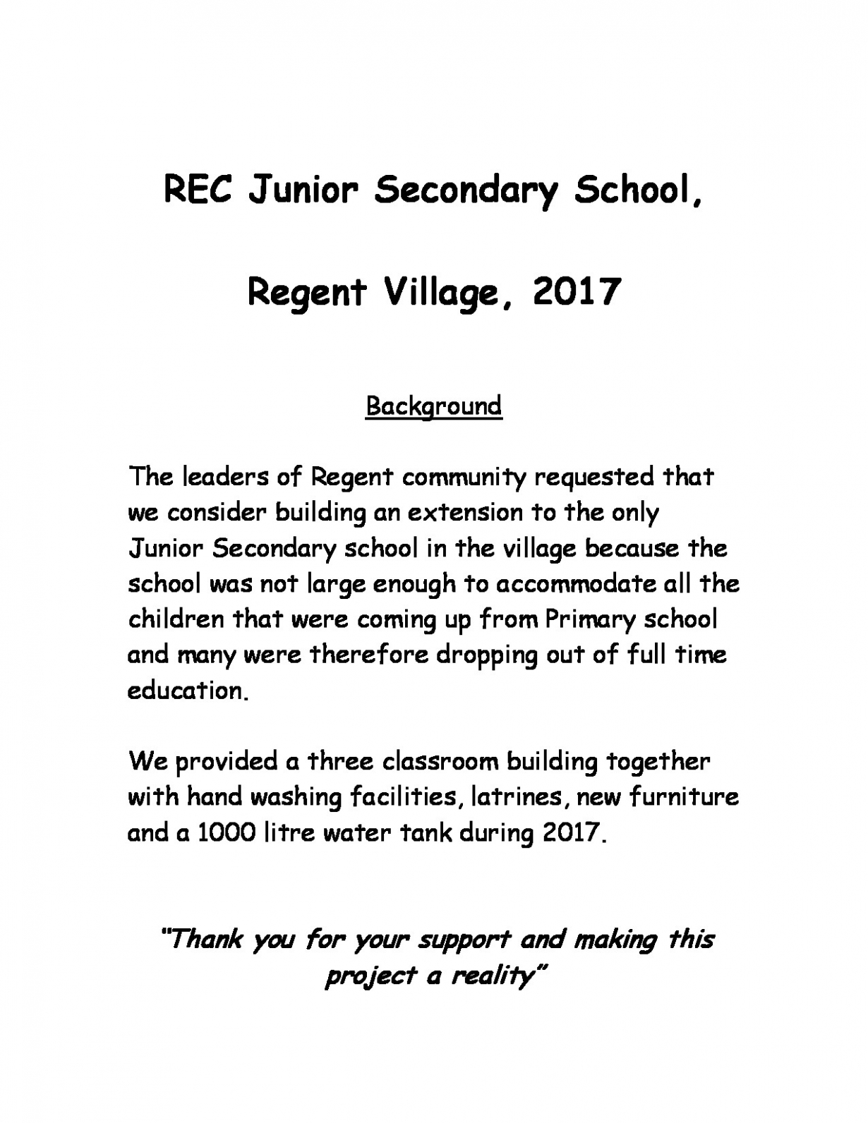 REC Junior Seconday Summary