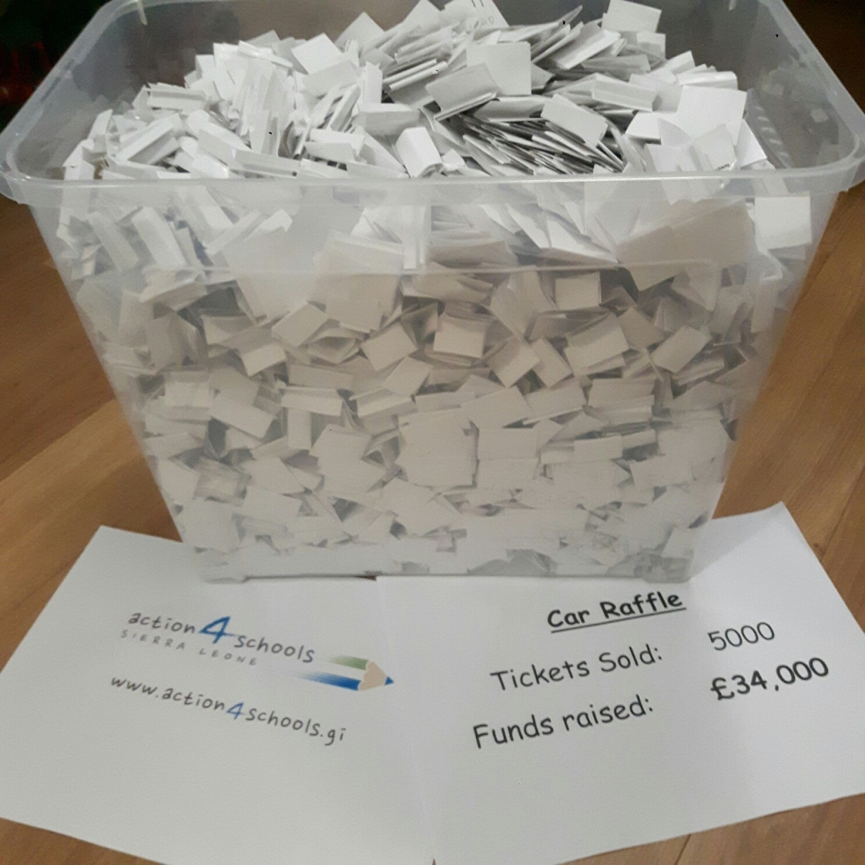 5000 tickets £34,000 raised