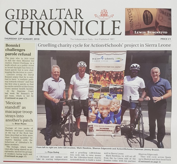 Front Page of the Gibraltar Chronicle 23rd September 2018