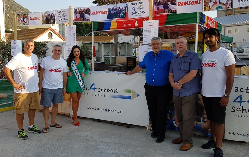 Left to right: Paul Costa (Trustee) Jimmy Bruzon (Charirman), Starr Farrugia (Miss Gibraltar 2018), Forti Azopardi (SDGG), Hon. Minister Stephen Linares, Manoj Gulraj (Director Ramsons)
