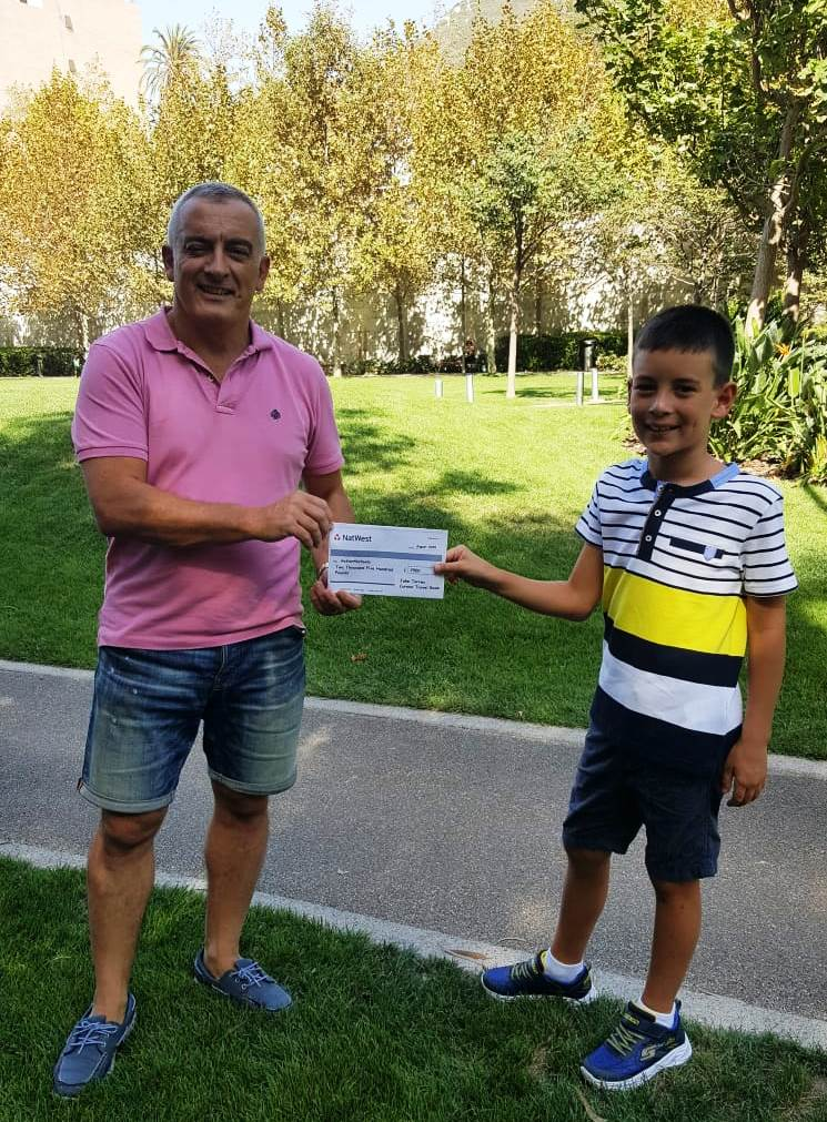 Jake presented a cheque for £2,500 to Jimmy Bruzon and the funds will pay for a new water well in Sierra Leone. Jake raised over £8,000 for various children's charities !