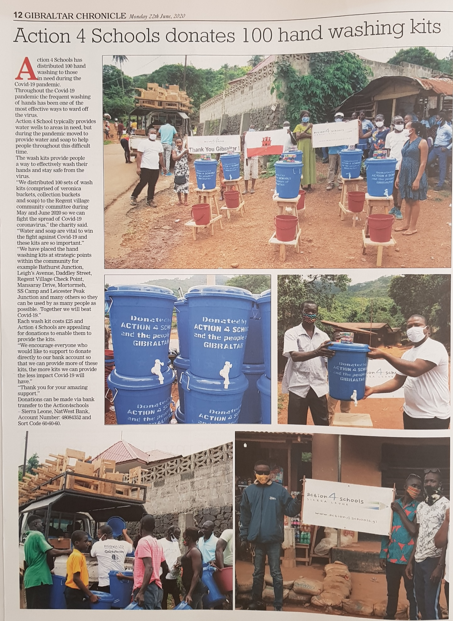 Gibraltar Chronicle 22nd June 2020 - 100 hand washing kits delivered !